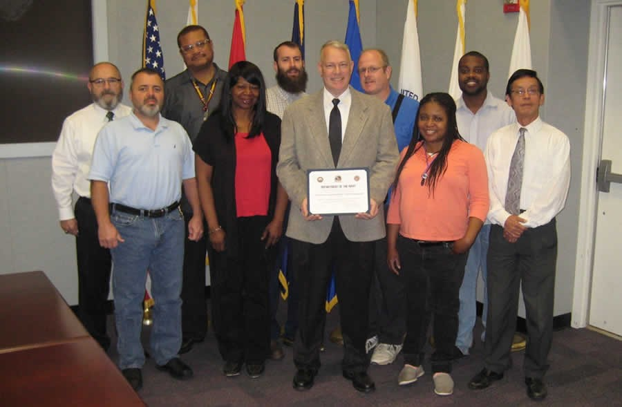 From left to right: Carlos Blanco, contract support; Mike Meadows, contract support; Jerry Welch, JITC; Sheila Carroll, contract support; Matt Bolster, contract support; Raymond Hrynko, JITC; Bill Bott, contract support; Michelle Perry, contract support; Carl Huff, contract support; Tri Nguyen, JITC.