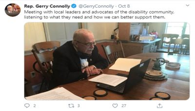 Representative Gerry Connolly's Tweet about advocating for the disability community.
